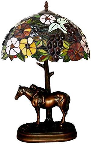 12 Inch Tiffany Style Table Lamp Horse Resin Base Color Glass Decorative Lighting Living Room Bedroom Bedside Lamp 90-260V/E271