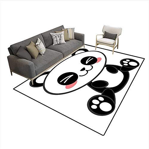 "Carpet,Cute Cartoon Smiling Panda Fun Animal Theme Japanese Manga Kids Teen Art Print,Indoor Outdoor Rug,Black White Gray 6'6"" x9' from zojihouse"