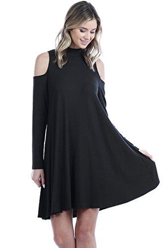 Made In USA Mock Neck Ribbed Cold Shoulder Long Sleeves Shift Dress