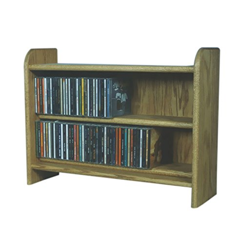 Cdracks Media Furniture Solid Oak 2 Shelf CD Cabinet Maximum Capacity 165 CD's Honey ()