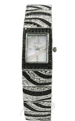 Elgin eg8094 rectangular de las mujeres analógico reloj de cristal madre de Pearl Negro
