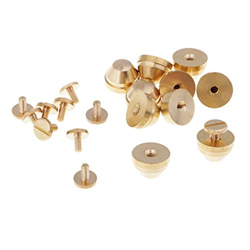 MOPOLIS Fashion 10 Sets Brass Stud Screw Back Nailhead Rivets for DIY Leather Crafts | Size - 13 x 9mm Style 6