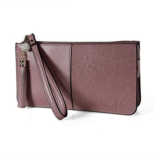(Befen Soft Leather Wristlet Phone Wristlet Wallet Clutch with Wrist Strap/Card slots/Cash pocket- Fit iPhone 6S Plus/Samsung Note 5- Pinkish Purple)