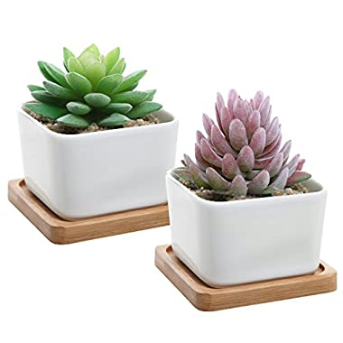 Set of 2 Decorative Small White Square Ceramic Succulent Plant Pot w/ Bamboo Draining Tray - MyGift®