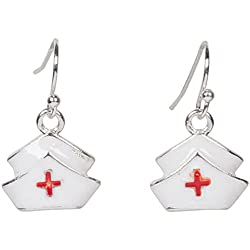 Heirloom Finds Enamel Nurse Hat Medical Professional Dangle Earrings