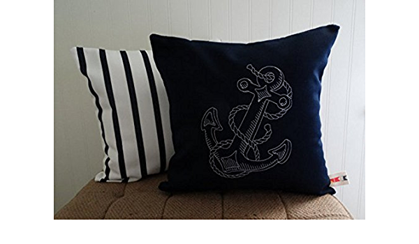 Sunbrella Canvas Navy Embroidered Anchor Indoor Outdoor Pillow Cover Custom Made By Oba Canvas Co Handmade