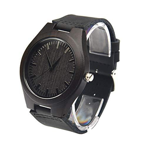 Fashion Handmade Wooden Wrist Watches Mens, Zebra Black Vintage Analog Quartz with Leather Strap Band Japanese Quartz