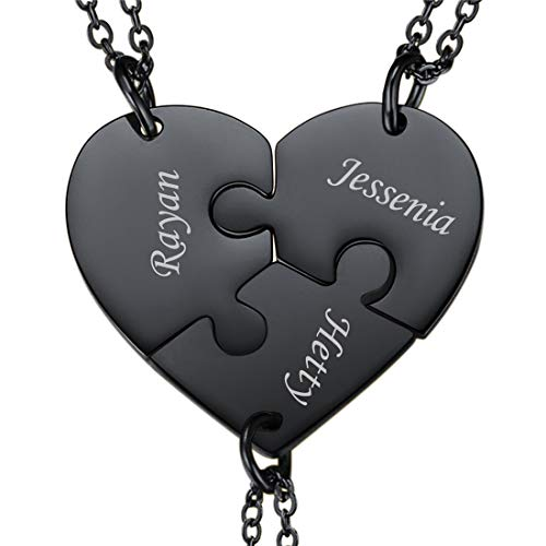 U7 BFF Necklace for 2/3/4 Stainless Steel Chain Personalized Family Love/Friendshipwelry Set Personalized Engraving Heart Pendants (Set of 3 Black Customized)