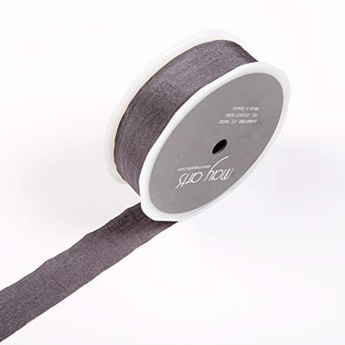 Faux Silk Ribbon - May Arts 1'' Faux Silk Wrinkled Ribbon (Roll 50 Yard) Charcoal