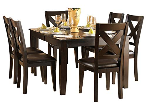 Creekmore Casual Modern 8PC Dining Set Table, 6 Chair, Server in Merlot (Merlot Set Dining Room)