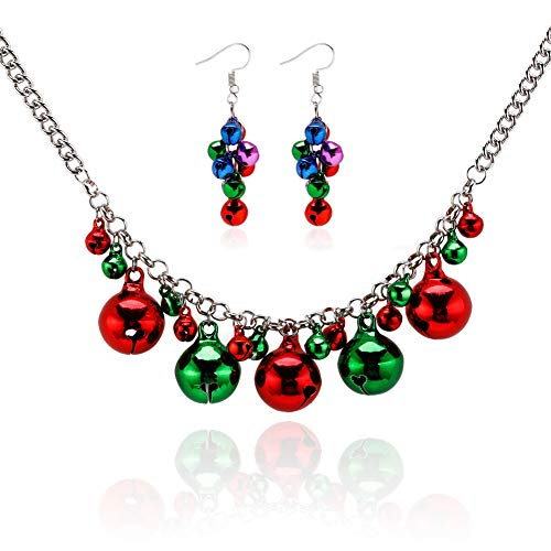 Christmas Jewelry Set Women Jingle Ball X-Mas Collar Necklace Dangle Earrings Girls Festival Holiday Accessories Gift for Women Girls