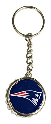 Pro Specialties Group NFL New England Patriots Bottle Cap Keychain, Navy, One ()