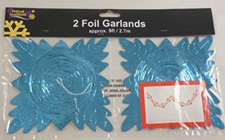9ft Turquoise Foil Garland Christmas Decoration Pack Of 2 Dp75 A