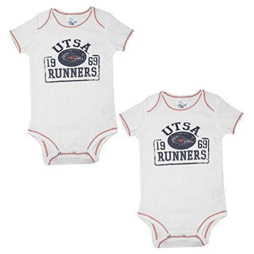 ((Pack of 2) TEX-SA ROADRUNNERS NCAA Infant Football One-Piece Romper 3-6M White)