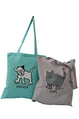 2pk amp; tote ' of Cat Dog bags 'Woof meow amp; YqIwgxfAv