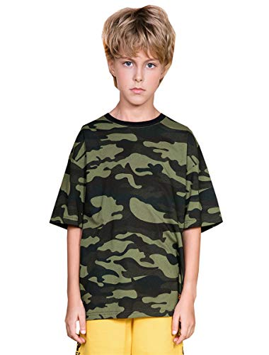 Boys' Camouflage T-Shirt, Basic Crewneck Short Sleeve Camo T Shirt Tee Tops for Kids Little & Big Boys Girls, Green, US 11-12 Years = Tag 170