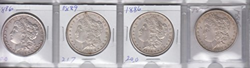 1885 ,1886, 1889,1896 Morgan Silver Dollars (4) Coins -Circulated Extremely Fine