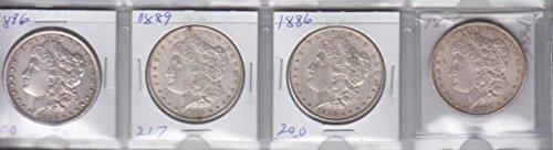 Morgan Dollar Set (1885 ,1886, 1889,1896 Morgan Silver Dollars (4) Coins -Circulated Extremely Fine)