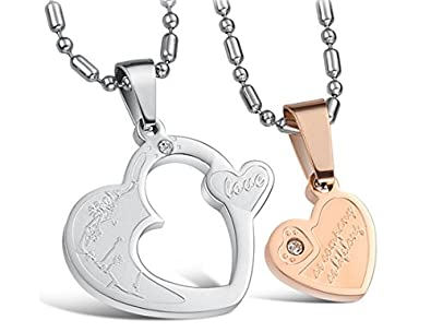 Valentine Special Silver Rose Gold Double Heart Couple Pendant Necklace  With Chains (2