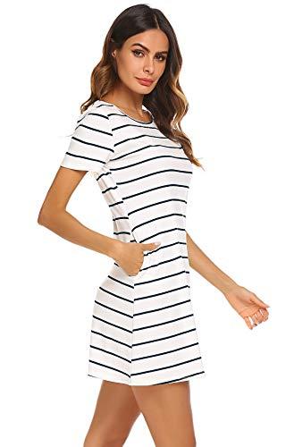 066cea9eb1e3 Feager Women's Casual Striped Criss Cross Short Sleeve T Shirt Mini Dress  with Pockets