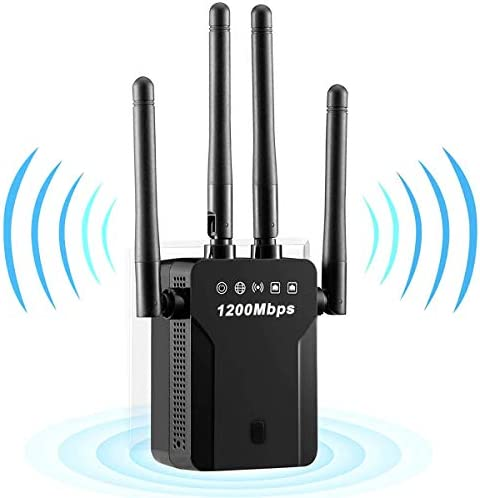WiFi Range Extender, 1200Mbps WiFi Booster Repeater Dual Band 2.4G & 5G Signal, WiFi Signal Booster Amplifier 360°Full Coverage, Extend Signal for Home Alexa Devices[Simple Set] (Black)