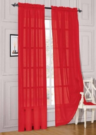 MONAGIFTS 2 PANELS RED Sheer Voile Window Panel curtains 59