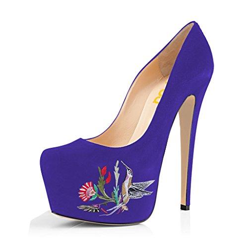 Fsj Vrouwen Trendy Puntschoen Pumps Slip Op Stilettos Hoge Hakken Jurk Dansschoenen Maat 4-15 Us Purple Bird