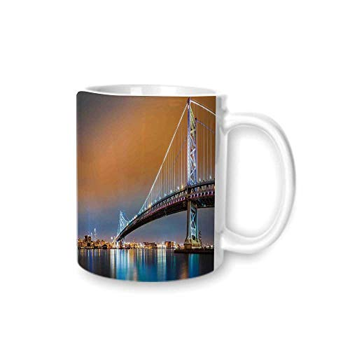 Apartment Decor Practical Mark Cup,Ben Franklin Bridge and Philadelphia Skyline Viewed from Camden Across the Delaware River Decorative For Hold Water,Z(diameter)8.2G9.5