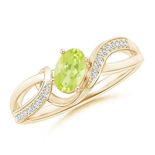 Angara Solitaire Oval Peridot Bypass Ring with Diamond Accents y8vUdGC6