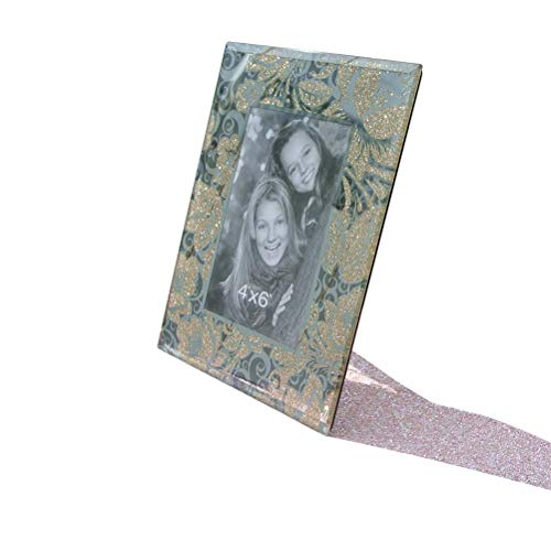 CN CRAFTS 4 X 6 Photo Frames with Hand-Polished Beveled and Gold Flower Painting in Highly Clear Mirrored Glass, 7 X 9 Inches