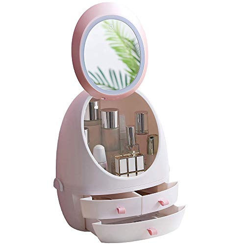 LED Mirror Makeup Organizer, Zinnor Makeup Mirror Organizer with Light LED Portable -