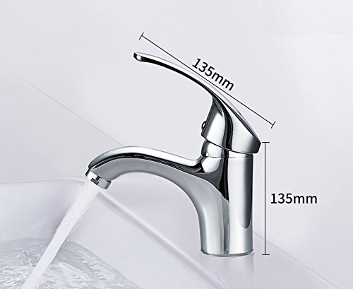 AWXJX Sink Taps Copper Single Handle Chrome Single Hole Sit Hot And Cold Ceramics Wash Basin by AWXJX Sink faucet