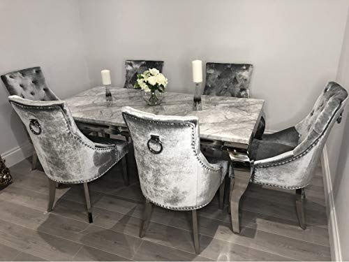 Schwarze Furniture Imperial Grey Marble Mirrored Dining Table And 6 Chairs Set Buy Online In Faroe Islands At Desertcart