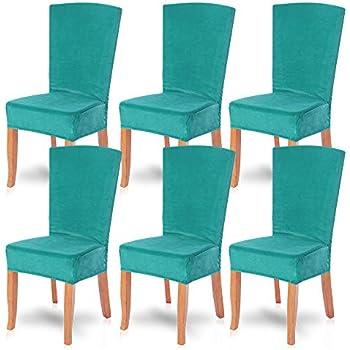 Amazon.com: smiry Velvet Stretch Dining Room Chair Covers ...