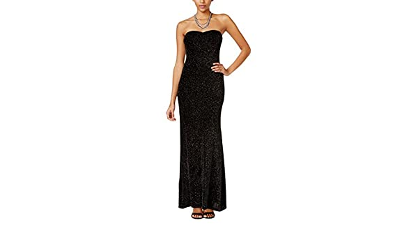 06f8d2b96fd Amazon.com  JUMP Junior s Strapless Glitter Slinky Long Prom Dress  Clothing