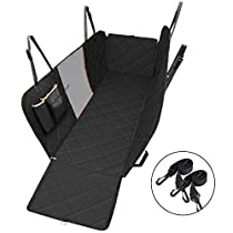 OMorc Dog Car Seat Covers with Nonslip Backing and Seat Anchors, Waterproof & Scratch Proof Hammock Convertible with Mesh Yarn,Extra Storage Bag, Durable Backseat Cover for Cars, Trucks, Vans and SUVs, Black
