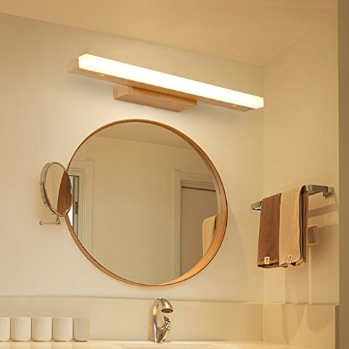 Solid Wood, Mirror Light, LED Wall Washer, Mirror Light Cabinet Light, Bathroom Simple Dresser Wall Light, Warm Light (Size : 60CM 10W) by Mingteng (Image #7)