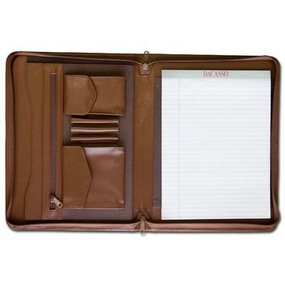 Dacasso School Office Boardroom Meeting Table Top Accessories Chocolate Brown Leather Enhanced Zip-Around Portfolio by Dacasso