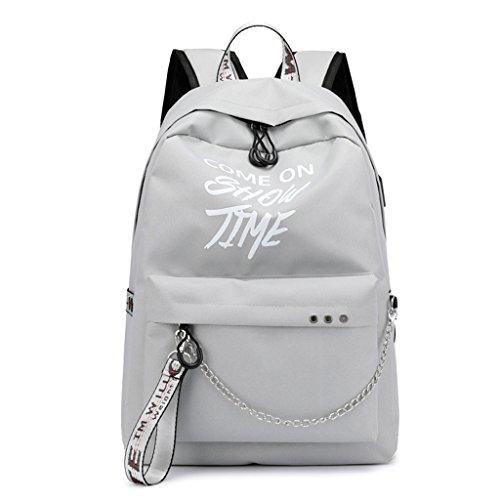 ShapeW School Bag Travel Waterproof Laptop Backpack Luminous Lyrics Print Charger USB (Light Gray)