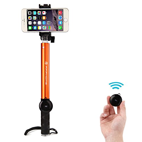 APPHOME Selfie Stick, Aluminum Extendable Monopod with Bluetooth Remote Shutter Adjustable Phone Holder for iPhone 7/Se/6s/6 Plus, Samsung Galaxy S6 Note 5/4 & Android Smartphones -Orange(Patented)