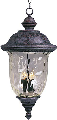 Maxim Lighting Brass Outdoor Lighting - Maxim 3427WGOB Lighting Fixture in Oriental Bronze Finish - Outdoor Hanging Lantern for Courtyards, Gardens, Pool Sides. Home Decor Accessory