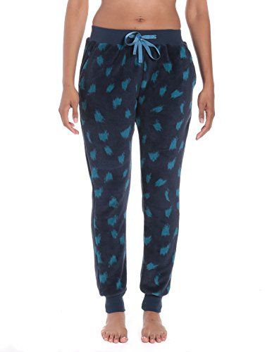 Noble Mount Women's Coral Fleece Jogger Lounge Pants - Snow Leopard - Navy/Teal - L (Leopard Lounge Pants)