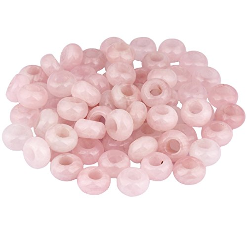 SUNYIK Rose Quartz Large Hole (6mm) Rondelle Loose Charms European Bead fits Bracelet,Jewelry Makings Pack of 20 (Bead Pendant Rose)