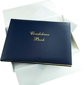 Libro de condolencias, inscripción en inglés, con caja color azul