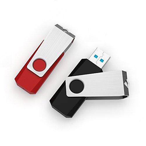 JUANWE 2PCS 32GB USB 3.0 Flash Drive, Memory Stick,Thumb Drive,Black/Red by JUANWE