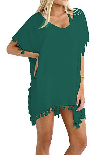 Taydey Women's Stylish Chiffon Tassel Beachwear Bikini Swimsuit Cover up (Dark Green, One ()