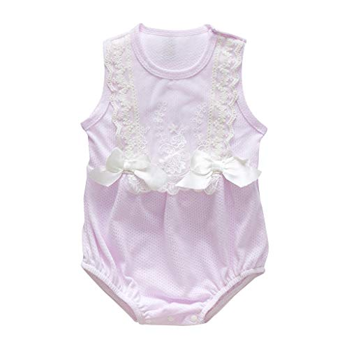 Zlolia Newborn Girls Patchwork Vest Romper Lace Ruffled Mesh Bow Tie Jumpsuit Summer Children Cute Clothing Purple]()