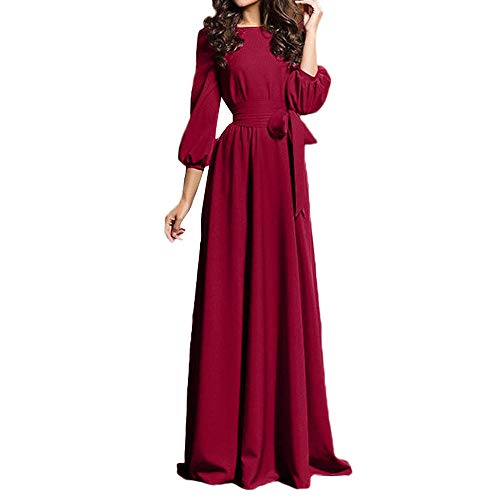 DEATU Womens Maxi Dresses Clearance,Ladies Boho Comfy Long Sleeve Evening Party Beach Long Dress Sundress(Wine Red,M)]()