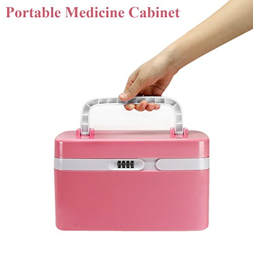 Fine Dragon Combination 4 Digit Lock Medicine Box Cabinet With Separate Compartments ,Locking Prescription Pill Case, Storage Case, Size 11 x 7.4 x 6.2 inches, Pink