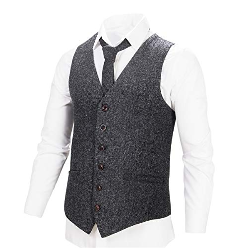 VOBOOM Men's Slim Fit Herringbone Tweed Suits Vest Premium Wool Blend Waistcoat (Flecked Grey, (Wool Tweed Coat)
